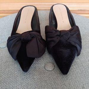 Zara Kitten Heel Mules Bow Pointed Toe Size 37